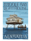 Middle Bay Lighthouse - Alabama Print by  Lantern Press