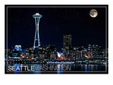 Seattle, Washington - Skyline and Full Moon Prints by  Lantern Press