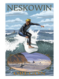 Surfer Scene - Neskowin, Oregon Prints by  Lantern Press