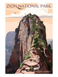 Zion National Park - Angels Landing and Condors Prints by  Lantern Press
