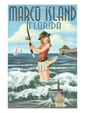 Marco Island, Florida - Pinup Girl Surf Fishing Art by  Lantern Press