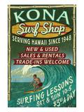 Kona, Hawaii - Surf Shop Kunstdrucke von  Lantern Press