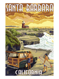 Santa Barbara, California - Woody and Lighthouse Posters by  Lantern Press