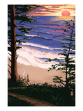 Sunset Beach and Surfers Prints by  Lantern Press