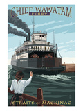 Straits of Mackinac, Michigan - Chief Wawatam Ferry Posters by  Lantern Press