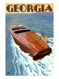 Georgia - Wooden Boat on Lake Art by  Lantern Press