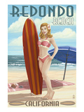 Redondo Beach, California - Pinup Surfer Girl Prints by  Lantern Press