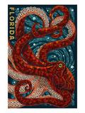 Octopus Paper Mosaic - Florida Plakater af  Lantern Press