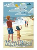 Kite Flyers - Myrtle Beach, South Carolina Kunstdruck von  Lantern Press