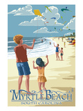 Kite Flyers - Myrtle Beach, South Carolina Print by Lantern Press 
