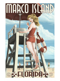 Marco Island, Florida - Pinup Girl Lifeguard Posters by  Lantern Press