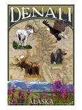 Denali, Alaska - Topographical Map Print by  Lantern Press