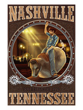 Nashville, Tennessee - Cowboy and Mechanical Bull Poster by  Lantern Press