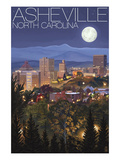 Asheville, North Carolina - Skyline at Night Posters by  Lantern Press