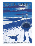 White Sands National Monument, New Mexico - Night Scene Prints by  Lantern Press