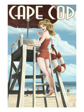 Cape Cod, Massachusetts - Llifeguard Pinup Girl Posters by  Lantern Press