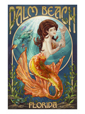 Palm Beach, Florida - Mermaid Scene Print by  Lantern Press