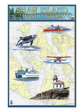 Shaw Island, Washington - Nautical Chart Posters by Lantern Press 