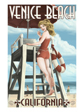Venice Beach, California - Lifeguard Pinup Prints by  Lantern Press