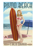 Pismo Beach, California - Surfer Pinup Girl Prints by  Lantern Press