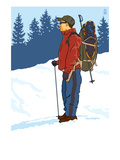 Snow Hiker Print by  Lantern Press