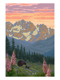 Spring Flowers and Bear Family Mountains Posters by  Lantern Press