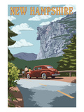 New Hampshire - Old Man of the Mountain and Roadway Art by  Lantern Press