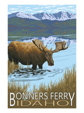 Bonners Ferry, Idaho - Moose and Lake Posters by  Lantern Press