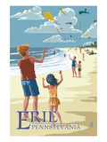 Erie, Pennsylvania - Kite Flyers Prints by  Lantern Press