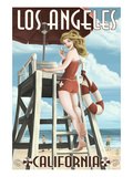 Los Angeles Beach, California - Lifeguard Pinup Print by  Lantern Press