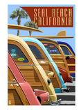 Seal Beach, California - Woodies Lined Up Prints by  Lantern Press