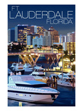 Ft. Lauderdale, Florida - Night Scene Poster by  Lantern Press