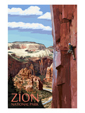 Zion National Park - Cliff Climber Prints by Lantern Press