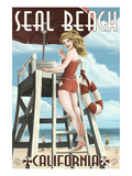 Seal Beach, California - Lifeguard Pinup Poster by  Lantern Press