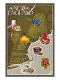 Foods of New England Map Prints by  Lantern Press