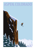 Skier Jumping - Aspen, Colorado Premium Giclee Print by  Lantern Press
