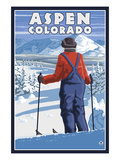 Skier Admiring - Aspen, Colorado Posters by Lantern Press 