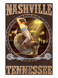 Nashville, Tennessee - Cowgirl and Mechanical Bull Prints by  Lantern Press