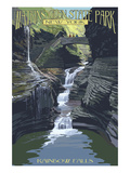 Watkins Glen State Park, New York - Rainbow Falls Print by  Lantern Press