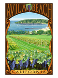 Avila Beach, California - Vineyard and Ocean Scene Posters by  Lantern Press