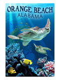 Orange Beach, Alabama - Sea Turtles Swimming Prints by  Lantern Press