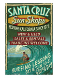 Santa Cruz, California - Sun Shops Surf Shop Posters by  Lantern Press