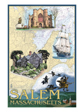 Salem, Massachusetts - Nautical Chart Print by Lantern Press