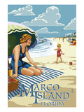 Marco Island, Florida - Woman on Beach Prints by  Lantern Press