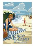 Marco Island, Florida - Woman on Beach Prints by  Lantern Press