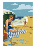 Santa Barbara, California - Woman on Beach Posters by  Lantern Press
