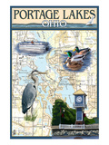 Portage Lakes, Ohio - Nautical Chart Posters by Lantern Press 
