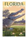 Florida - Alligator Scene Plakaty autor Lantern Press