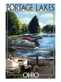 Portage Lakes, Ohio - Dock and Lake Scene Prints by  Lantern Press