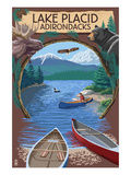 Lake Placid, New York - Adirondacks Canoe Scene Posters by Lantern Press 